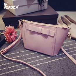Wholesale-Korean Brand Messenger Bag Bow Crossbody Bag Sling Women Purse Shoulder Bag Brand Pu Leather Messenger Bags