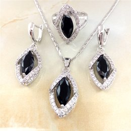 Wholesale Black Sapphire Color Sterling Silver High Quality AAA Cz Jewelry Sets for Women Wedding Jewelry Accessories