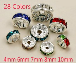Wholesale 28 Colors Sizes Silver Plated Crystal Rhinestone Rondelle Spacer Charms Loose Beads For Jewelry Making Supplies Components