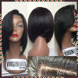 2015 reine cheveux produits glueless brésilien cheveux vierges courts cheveux humains perruques bob soie top pleine dentelle perruque avec bangs pour les hommes noirs à partir de pleine perruque de dentelle hommes fabricateur