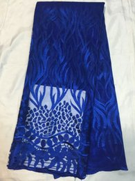 Beautiful royal blue african lace fabric with gold water soluble embroidery french net lace for party dress QN33-8(5yards pc)