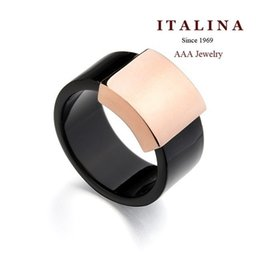 Wholesale-New 2015 Fashion ITALINA Brand Men Jewelry Rose White Gold Plated Black Acrylic Square Charm Wedding Ring For Women Girls