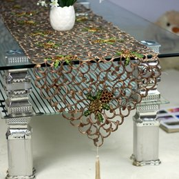 Wholesale Openwork embroidery cloth coffee color air TV cabinet table cloth soft mounted home furnishings handmade table runner