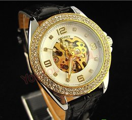 new!Winner Women's Gold Tone Skeleton Automatic Mechanical Rhinestone Case Girls Lady Fashion Jewelry Watches