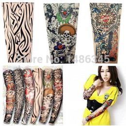 Wholesale-New 4Pcs nylon stretchy temporary tattoo sleeves Long Arm Sleeves Kit Punk Fake Crown Tattoos Sleeve Arm Stockings Free Shipping