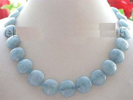 Wholesale 18 quot Natural mm Blue Coin Aquamarine Necklace