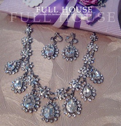 diamond flower drops wedding bride set necklace earings (hb3308) teter
