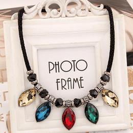 2015 New Arrival Water Drop Pendant Choker Necklace Rope Chain Glass Pendant Necklace Collar Necklace for Women necklaces & pendants