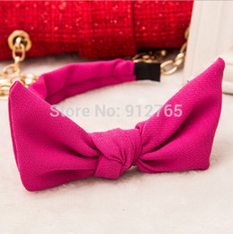 Wholesale 2015 Korean Solid Rabbit ears headband Big bow hairband women fashion handmade headbands hair accessories color LJ25
