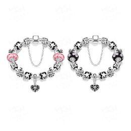 Fashion 925 Sterling Silver bracelets Daisies Murano Glass Crystal European Charm Beads Fits bracelets for pandora bracelets Box button