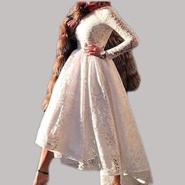 2016 Designer Saudi Arabian A-Line White Lace Prom Dresses O-Neck Long Sleeves Dubai Evening Dresses Ankle Length Party Dress Gowns d154