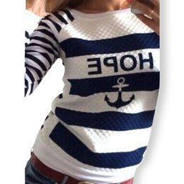 Striped Hoodies Anchors Print Tracksuit Sweatshirts Sports Pullovers Free Shipping