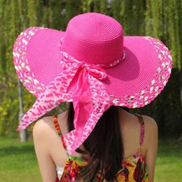 Wholesale Simple Straw Hats - Wholesale-2015 Fashion Simple Design Summer Style Straw Hat Cap Women's Ladies' Foldable Wide Large Brim Floppy Beach Hats For Women