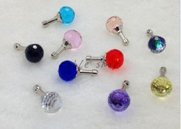 Wholesale-New arrival Fashion and Popular 10mm Crystal ball DustProof Plug Mobile Phone Jewelry Wholesale price $0.42