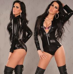 Wholesale-Black Leather sexy Lingerie Sexy Body Suits for Women PVC Erotic Leotard Costumes Latex Bodysuit Catsuit women leather dresses