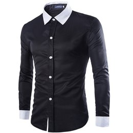 Wholesale online tops tee mens clothes shirts fashion formal dress long sleeve White black button up slim fit plus size Cotton silk cheap