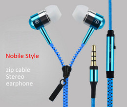 Wholesale 100pcs DHL new Brand zipper style stereo earphone with microphone and cable controller EA0001