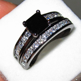 Women's 18K Black Gold Filled Black Diamond Sapphire CZ Paved Two-layer Wedding Ring Set