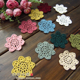 Wholesale 2016 new arrival natural cotton handmade colors cm round crochet table mat cotton cup pad doily coaster for home decoratio