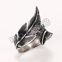 Vintage Punk Rock Stainless Steel Retro Men Pure Wide Feather Ring Size 7-13