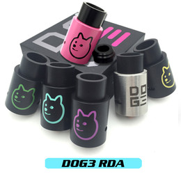 Wholesale Vaporizer DOG3 RDA Atomizers Clone Doge v3 Vapor Rebuildable Airflow Control mm Post Holes With Wide Bore Drip Tips Fit Box Mods DHL Free