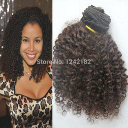 HOT Clip in human hair extensions! Brazilian afro kinky curly clips in hair weft double drawn 9pcs lot natural black curly hair