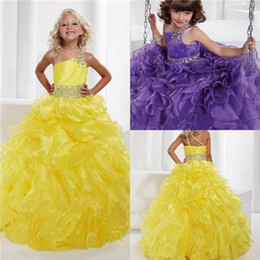 Wholesale 2015 Cheap Purple Yellow Girls Pageant Dresses For Toddler Little Baby Girls Personalized Glitz Crystal Ruffle One Shoulder Ball Prom Gowns