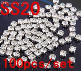 Wholesale-SS20 4.5mm 100pcs Clear Crystal Sew on Rhinestones Diamond Flatback Claw Rhinestones With Silver Plated Glass Stones