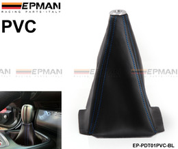 TANSKY - JDM Universal Black PVC Grain Shifter Knob Boot Cover Stitching Blue (Other Color:Red,Yellow) EP-PDT01PVC