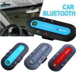 Wholesale Anglais Espagnol véhicule multipoints sans fil haut parleur mains libres sans fil téléphone cellulaire mains libres Bluetooth v3 Kit de voiture Noir Bleu