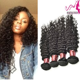 Peruvian Malaysian Indian Mongolian Brazilian Deep Wave Virgin Indian Hair 4pcs Natural Wave Deep Wavy Human Hair Extension 7A Beautiful