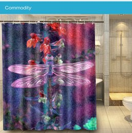 Wholesale Animal Insect Dragonfly Colorful Modern Custom x180cm Shower Curtain Waterproof Bath Curtain