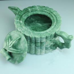 Wholesale Natural jade Guizhou jade floating flowers tea teapots climbs bamboo teapot factory direct sales