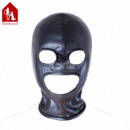 Wholesale Davidsource Zipper Tight Fit Black Elastic Leather Full Head Eyes Mouth Hollow Hood BDSM Bondage Slave Pig Head Gear Restraint