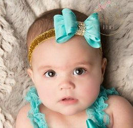 Wholesale Glitter Diamond Bowknot Princess Baby Bride Kids Adorable Photo Hair Bands Handmade Children Hair Accessories Headbands Band