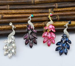 Fashion retro silver plated rhinestone earrings crystal peacock theme women jewelry