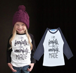 5pcs Girls Long Sleeve T Shirts I AM Bearfully And Wonderfully MADE Letter Printing Baby Boys T-Shirt Tops 2016 New Fashion Kids Clothing