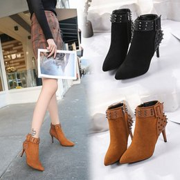 Fashion Women Shoes 2017 high-heeled new boots women sexy with thin pointed winter fashion rivets Martin boots matte single boots 35-39