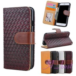 For iPhone 6 4.7 Plus 5.5 Inch Luxury Weave Leather Case Photo Frame Stand Flip Leather Wallet Cover For iPhone6 Case