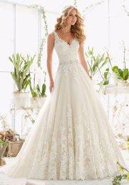 Wholesale 2016 New Design A Line Lace Wedding Dresses V Neck Beaded Sash Backless Sexy Vintage Appliques Wedding Gowns Vestido de festa Custom Made