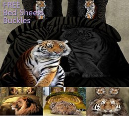 Wholesale 3D Bedding Sets Black Cloth Terrible Bengal Tiger Pattern Design Printed Comforter Set Queen Size Quilt Cover Spring