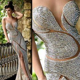Wholesale 2016 Rami Salamoun Beaded Evening Dresses Luxury Jewellery Rhinestones Sheer Jewel Corset Mermaid Floor Length Celebrity Dress