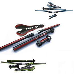 RXL SL 4pcs set Carbon MTB Handlebar Bike Parts Cycling Handlebar+Seatpost+Stem+Saddle MTB Bike Handlebar Set for Mountain Bike Road Bike