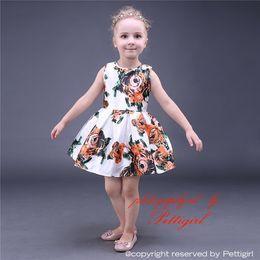 Pettigirl 2019 New Arrival Girls Flower Dresses Ginger Rose Printed Sleeveless Girls Casual Dress Kids Designer Clothes GD80727-1L