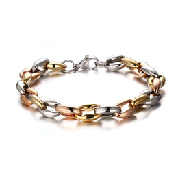 2015 Newest Top Selling Mens Silver Gold Rose Gold Tri-color Stainless Steel Collar bone Link chain Bracelet Heavy Huge 8.5''
