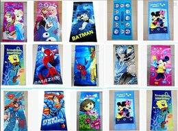 Wholesale 62 Styles The Avengers superhero Batman towel mickey towels princess Printed Cotton Towel Baby Cartoon Bath Towels Kids Beach Towels