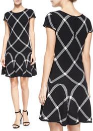 Fashion Gird Print Women A-Line Dress Short Sleeves Work Dresses 15101572