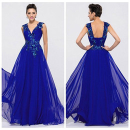 Hot Royal Blue Dark V neck Appliqued Fashion A line Evening Dresses 2016 Sleeveless Backless Beaded Floor Length Chiffon Party Prom Gowns