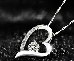 925 Sterling Silver Crystal Love Heart Shape Pendant For Necklace