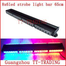 Wholesale 48LED car roof Strobe Lights vehicle warning lamp police strobe light double side led light bar with magnet DC V red blue
